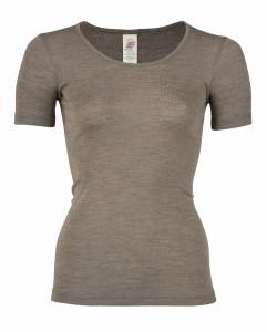 Damska bluzka z krótkim rękawem z wełny merynos i jedwabiu